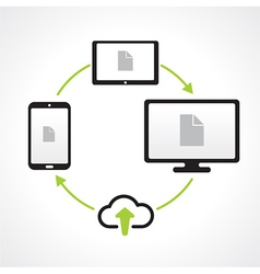Cloud upload connect media transfer icons vector