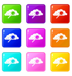 Cloud with magnifying glass icons 9 set vector