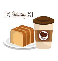 Coffee and bread delicious breakfast vector