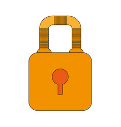 Color image cartoon padlock with body and shackle vector