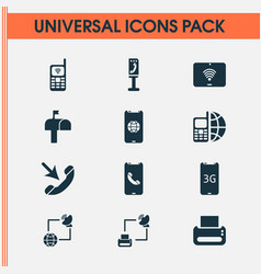 Communication icons set with mailbox cellphone vector