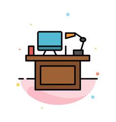computer desk desktop monitor office place table vector image