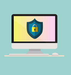 computer with protection icon on screen computer vector image