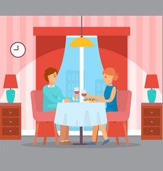 Couple on romantic date at home people talking vector