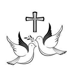 Couple pigeons and a cross biblical symbols vector