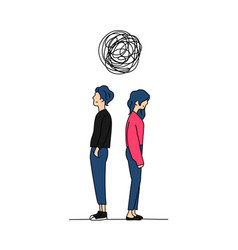 Couple think complicated relationship problem vector