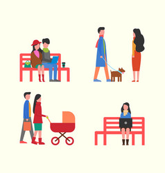 couple working on laptop on bench family walking vector image