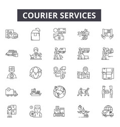 courier services line icons signs set vector image