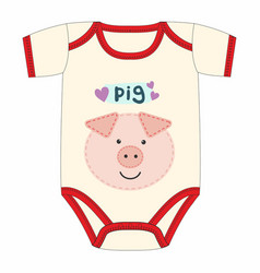 cute clothes for newborn with pig vector image