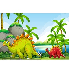 Cute dinosaurs in the park vector image