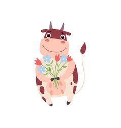Cute smiling cow standing on two legs with bouquet vector