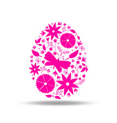 easter egg floral decoration pink vector image