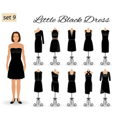 fashion woman in little black dress set of vector image