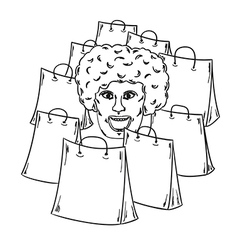 Few bags for shopping and woman face vector