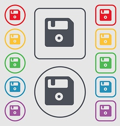floppy icon sign symbol on the Round and square vector image
