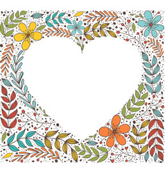 Floral border in shape heart banner with vector