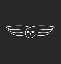 flying owl logo creative linear design bird vector image