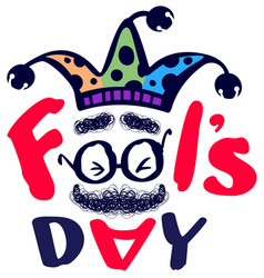 fools day clown text greeting card isolated vector image