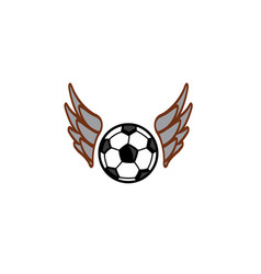 football flying with wings logo vector image