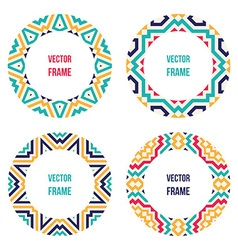 Four abstract round frames vector