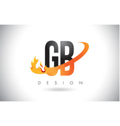 Gb g b letter logo with fire flames design and vector