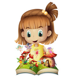 Girl reading book of fairies vector