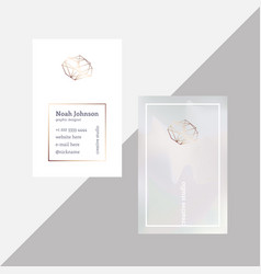 Gray double-sided business card with crystal logo vector