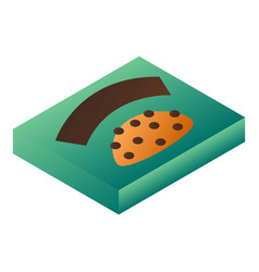 Green biscuit box icon isometric style vector