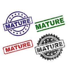Grunge textured mature seal stamps vector