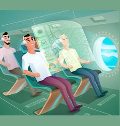 Happy airline clients in futuristic plane vector