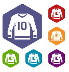 Hockey jersey icons set hexagon vector