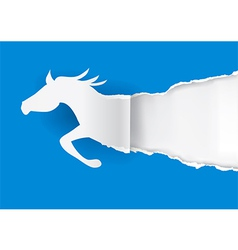 Horse silhouette ripping paper vector