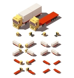 Isometric truck with container semi-trailer vector