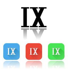 Ix roman numeral icons colored set vector