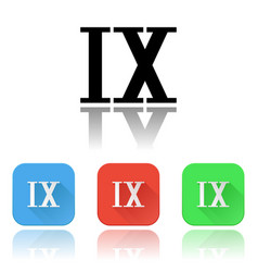 ix roman numeral icons colored set with vector image