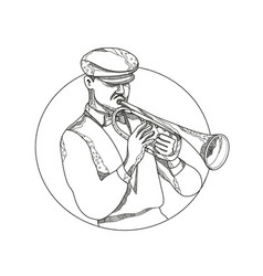 Jazz musician playing trumpet doodle art vector