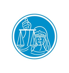 Lady Blindfolded Hold Scales Justice Circle vector image