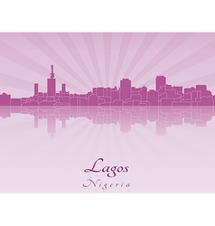 Lagos skyline in radiant orchid vector