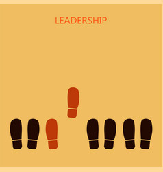 Leadership concept red leaders shoe prints vector