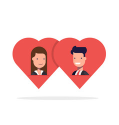 Man and woman in love in two hearts together vector