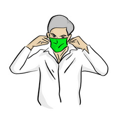man wearing medical green mask vector image