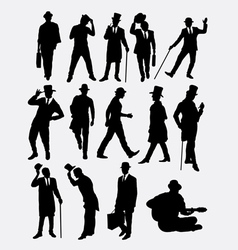 Man with hat pose silhouette vector image