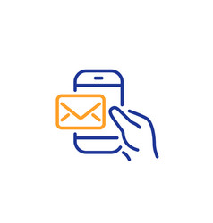 messenger mail line icon new newsletter sign vector image
