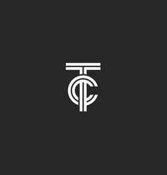 Monogram tc logo hipster initials ct for business vector