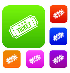 Movie ticket set collection vector
