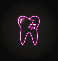 Neon tooth with hole icon in line style vector