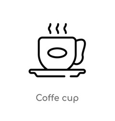 Outline coffe cup icon isolated black simple line vector