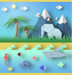 Paper origami abstract concept vector