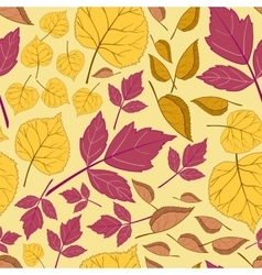 Pattern with leaves on a yellow vector