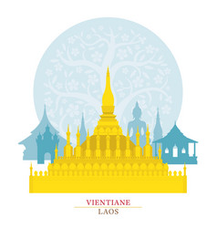 phra that luang vientiane laos with decoration vector image